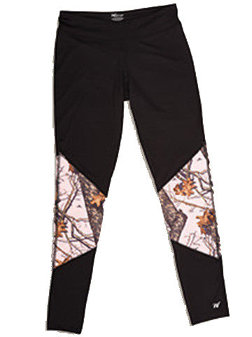 Mossy Oak Pink Camo Workout Tights Black - American Outdoor Woman