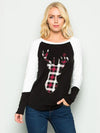 Plaid Deer Print Color Blocked Top - American Outdoor Woman