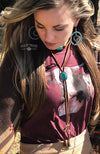 Leather Lady Concho Choker Rust & Turquoise Women's Western Necklace - American Outdoor Woman