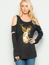A Cutout Sleeve Reindeer Sequin Top -BLACK
