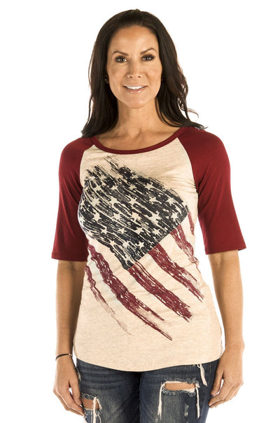 American flag baseball tee - American Outdoor Woman