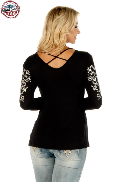 Crossed Elegance Long Sleeve (Blk) - American Outdoor Woman