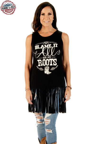 Blame On Roots Sleeveless Fringed Tank Dress - American Outdoor Woman