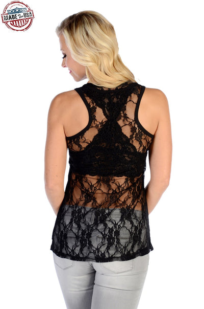 Devilish Lace Back Tank Top - American Outdoor Woman