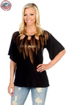 Women's Peekaboo Feathers Top