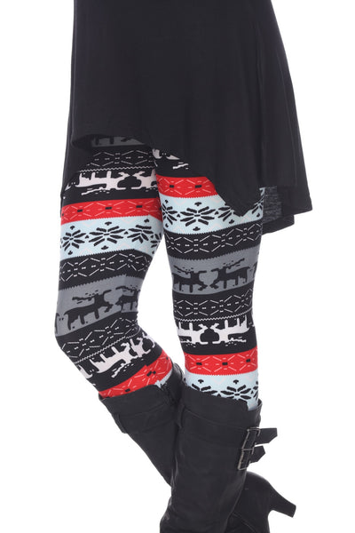 Grey/Red Seasonal Leggings - American Outdoor Woman