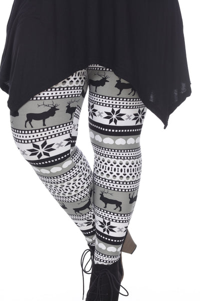 (Plus Size) Grey/White Seasonal Leggings - American Outdoor Woman