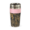 Pink-trimmed Camo Leather Travel Mug - American Outdoor Woman