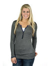Muddy Girl Charcoal Grey Henley - American Outdoor Woman