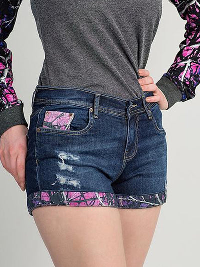 A Muddy Girl Camo Jean Shorts - American Outdoor Woman