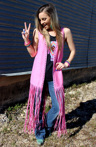 Panama Pink Women's Western Studded Duster - American Outdoor Woman