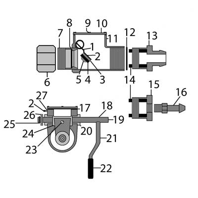 Sketch of how to put together a Lindsay Style Sandblaster Shutoff & Parts