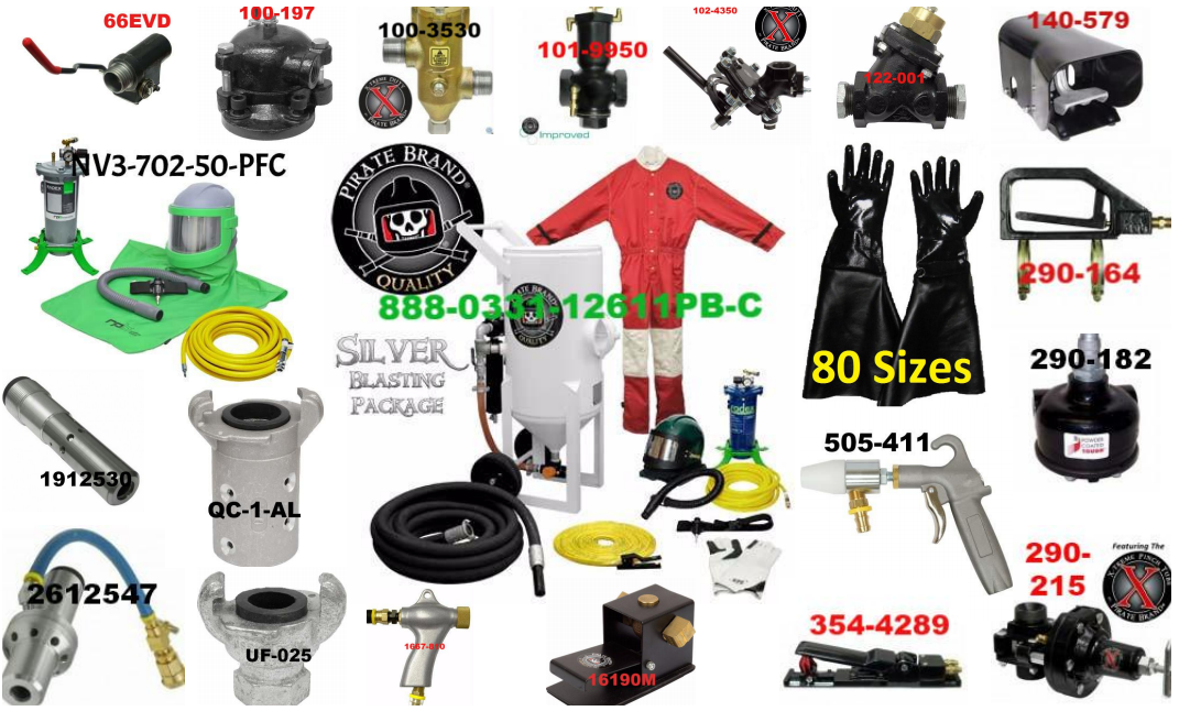 Collage of Sandblaster Parts, Sandblasters & Accessories