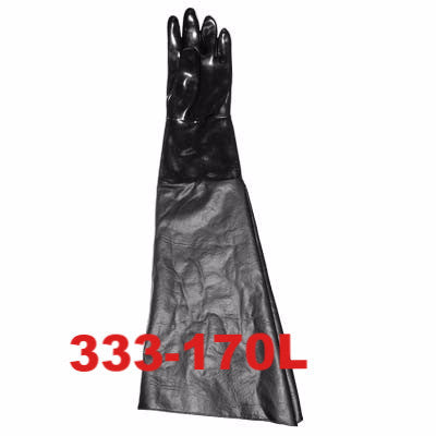 Sandblasting gloves, neoprene with cotton lined ranchide sleeve. Left hand only.
