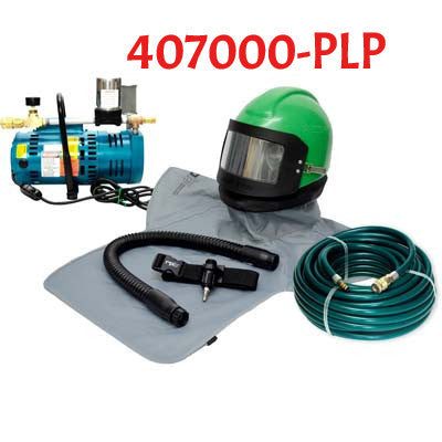 Sandblasting Helmet Nova 2000 with Breathing Pump made by RPB in the USA.