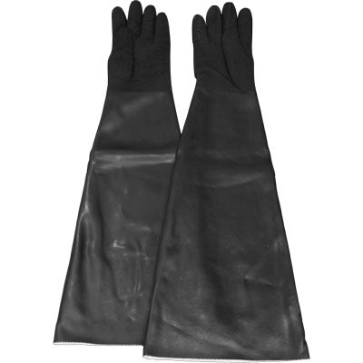 "Textured Hand Sandblasting Gloves, seamless rubber, cotton lined, black, up to 9"" dia. x 32"" long"