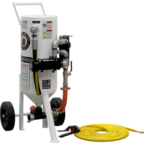 Portable Sandblaster 1.5 cu.ft. Pressure Release (150 pound) with remote shut off. Variety of packages available..