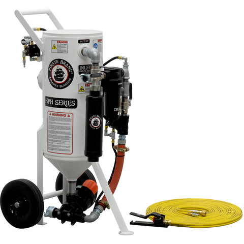 Portable Sandblaster Pressure Hold 1.5 cu. ft. pneumatic operated (150 pound) with Remote Shut off. Variety of packages available..