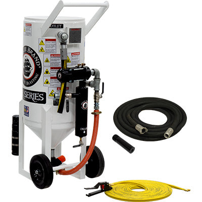Pressure release sandblasting equipment pneumatic operated. Portable, 3.5 cu. ft., ((350 lbs.)) 150 PSI.   This is a industrial style portable sandblaster.