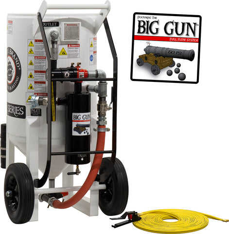 Sandblasting Equipment 6.5 cu. ft.  (650 lbs.) BIG GUN pressure release pneumatic operated.