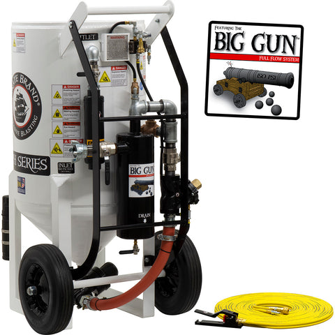 Sandblasters, Portable Big Gun Pressure Hold 6.5 cu. ft. (650 pound) Pneumatic Operated.