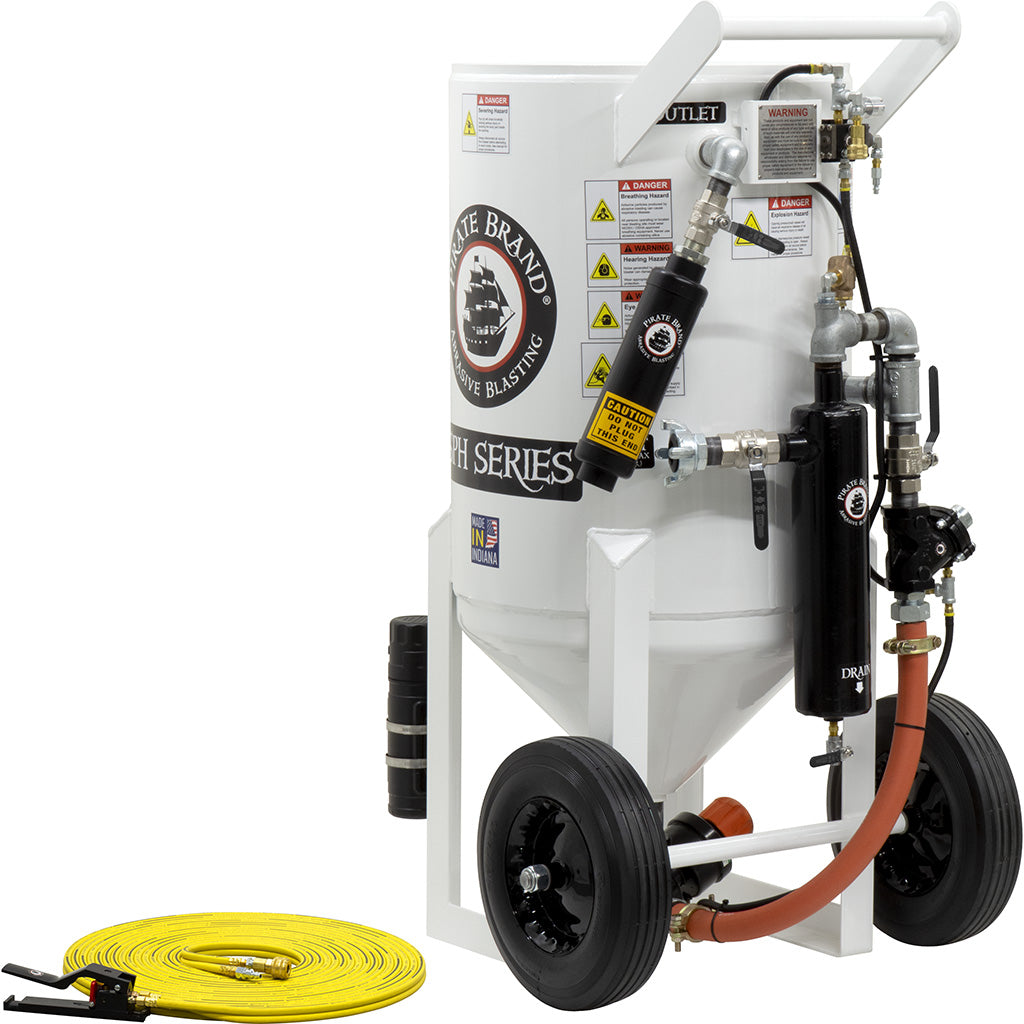 Sand Blasters Pressure Hold Style 6.5 cu. ft., 650 Ibs.  This is a industrial style portable sandblaster.