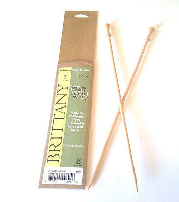 "Brittany Wood Knitting Needles 10"" Single Point Size 7"
