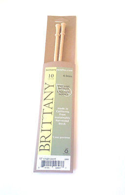 "Brittany Wood Knitting Needles 10"" Single Point Size 10"