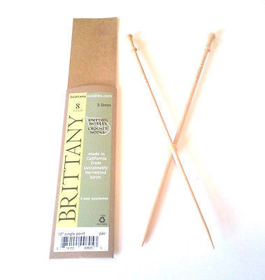 "Brittany Wood Single Point Knitting Needles 10"" Single Point Size 8"