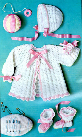 Vintage Crochet Pattern Shell Stitch Baby Sweater, Hat, Booties and Toys Instant Download