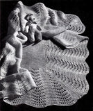 Vintage Knitting Pattern Fan Stitch Shawl Baby Blanket Instant Download