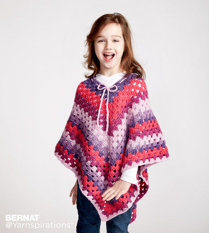 bernat pop yarn crochet pattern girls poncho
