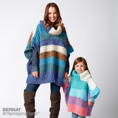 Free Crochet Pattern Bernat Pop Yarn Mom and Me Poncho