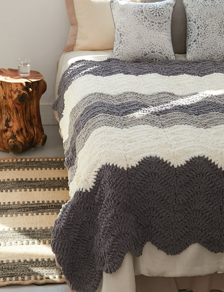 Crochet Patterns Using Bernat Blanket Yarn : Free Crochet Pattern Bernat Blanket Yarn Grey Scale Blanket Afghan ...