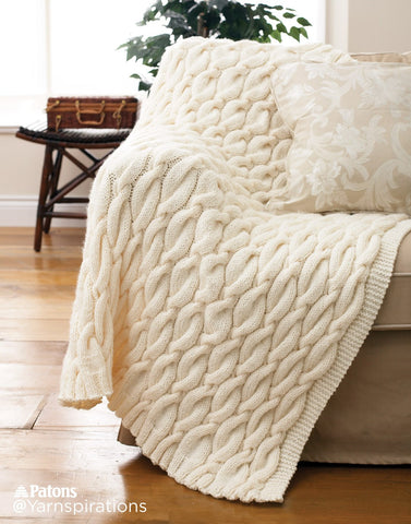 Free Knitting Pattern Patons Cable Knit Blanket Kays Crochet Patterns