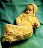 Vintage Knitting Pattern Cable Baby Bunting Sleep Bag and Hat Instant Digital Download