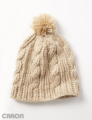 Free Crochet Pattern Caron Yarn Cable Twist Beanie