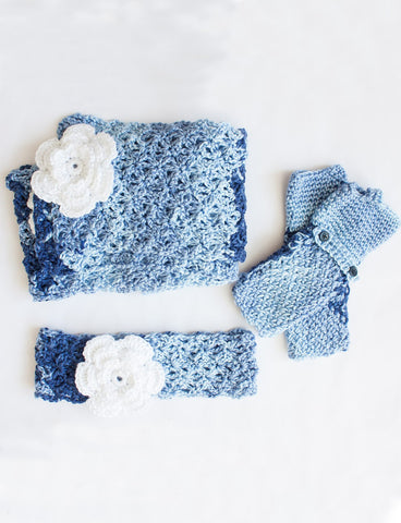 Free Crochet Pattern Caron Ombres Head Band, Scarf and Fingerless Gloves