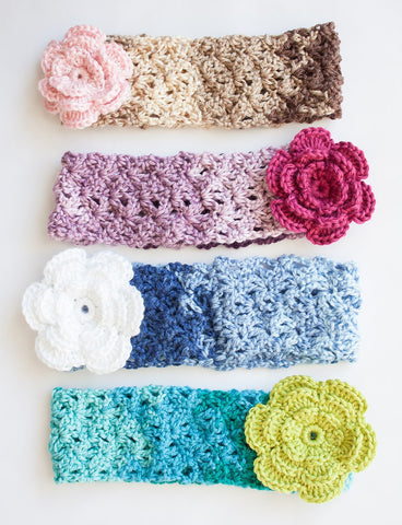 Free Crochet Pattern Caron Ombres Head Band Scarf And Fingerless