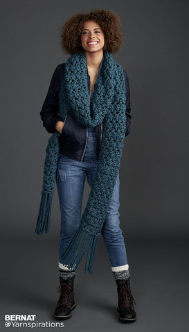 free crochet pattern bernat super scarf crossing paths
