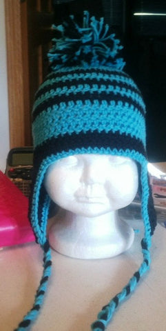 crochet pattern striped beanie with earflaps