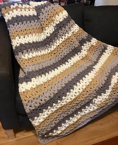 Crochet Kit To Make Bernat Blanket Stripes Quick And Easy Afghan