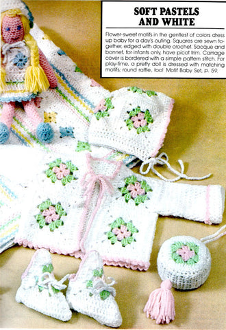 Vintage Crochet Pattern Granny Square Baby Blanket Sweater Hat