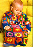 Vintage Crochet Pattern Granny Square Baby Bunting Instant Download