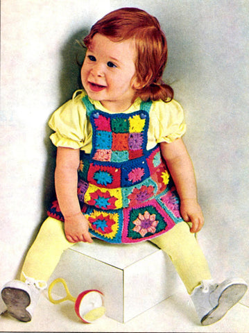 Vintage Crochet Pattern Granny Square Dress for Babies, Toddlers Instant Download
