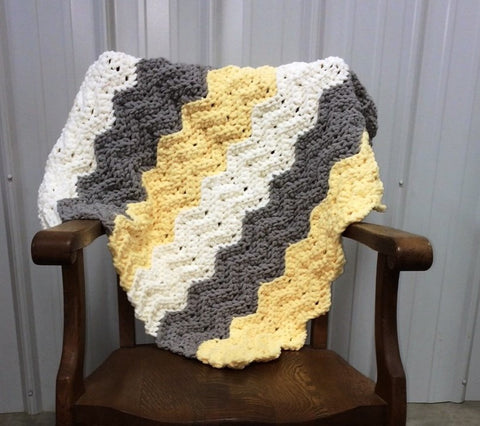 Crochet Pattern Quick Easy Chevron Ripple Baby Kamden Blanket Made