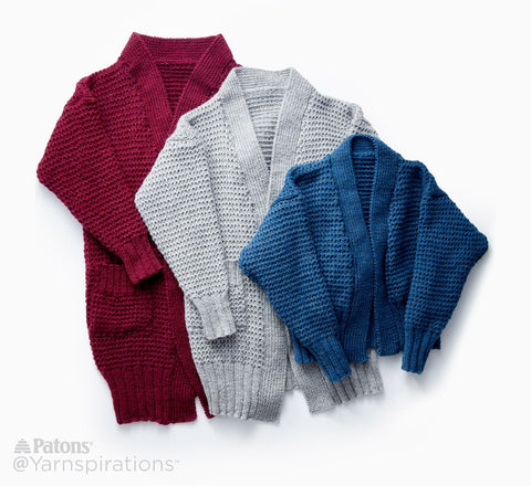 Free Knitting Pattern Patons Long Weekend Cardigan