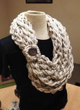 Kay's Crochet Bulky Oatmeal Rope Scarf with Wood Button