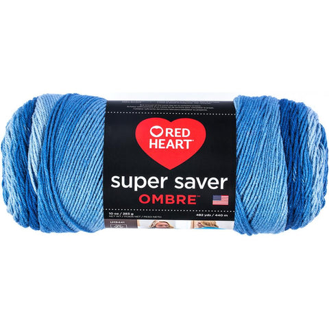 Red Heart Super Saver Ombre Yarn True Blue