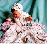 Vintage Crochet Baby Blanket Pattern Shell Blanket, Hat & Sweater Instant Download